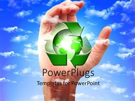 PowerPlugs: PowerPoint template with recycling concept to save earth ,  with sky