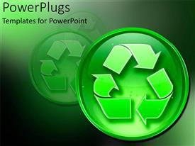 PowerPoint template displaying recycling sign environmentally friendly go green reduce reuse