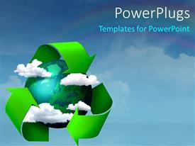 PowerPlugs: PowerPoint template with a recycling sign with a globe