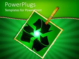 PowerPlugs: PowerPoint template with a recycling sign with greenish background