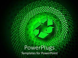 PowerPlugs: PowerPoint template with a recycling sign with a number of green dots around it