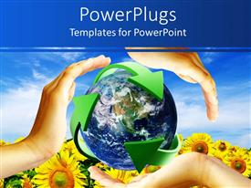 PowerPoint template displaying recycling theme with globe surrounded by green recycling arrow sign and three hands on sunflower field and blue sky background