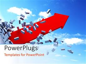 PowerPlugs: PowerPoint template with red 3D arrow bursts out of brick wall with cloudy sky