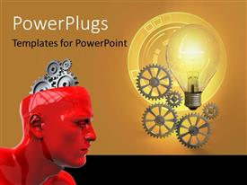 PowerPlugs: PowerPoint template with a red 3D character with gears for a brain