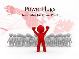 PowerPlugs: PowerPoint template with a red 3D character leading other white characters with a world map behind