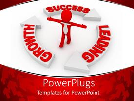 PowerPlugs: PowerPoint template with a red 3D human character standing in a recycle sign