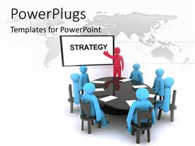 PowerPlugs: PowerPoint template with red 3D man giving presentation to blue team around conference table