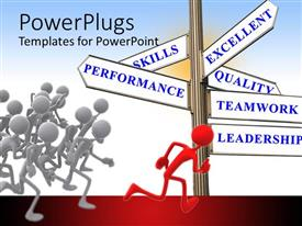 PowerPlugs: PowerPoint template with red 3D man leading others with sign post of leadership