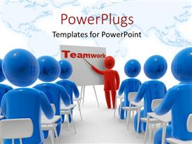 PowerPlugs: PowerPoint template with red 3D man lecturing blue 3D men in conference section