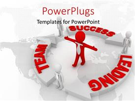 PowerPlugs: PowerPoint template with red 3D man stands in center of success circle
