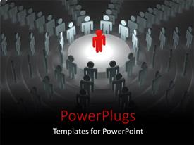 PowerPlugs: PowerPoint template with red 3D man stands on stage in conference hall depicting leadership