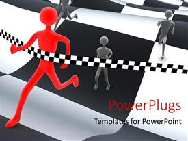PowerPlugs: PowerPoint template with red 3D man wins race on wavy black and white patterned track