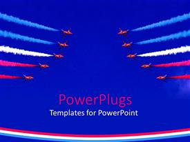 PowerPlugs: PowerPoint template with red aircrafts performing stunt in sky with colored fumes from exhaust
