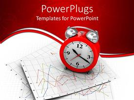 PowerPlugs: PowerPoint template with red alarm clock on top of charts in red background