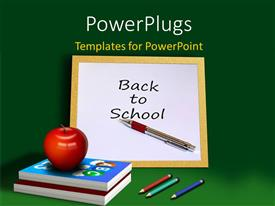 PowerPlugs: PowerPoint template with red apple on book pile with chalkboard on black surface