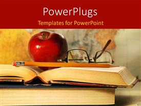 PowerPlugs: PowerPoint template with red apple, eye glasses and pencil on open book