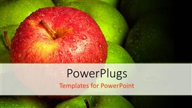 PowerPoint template displaying a number of apples with blackish background