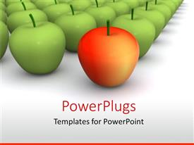 PowerPoint template displaying red apple leading group of green apples
