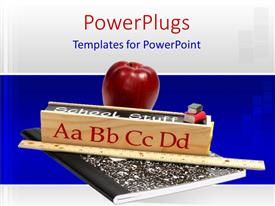 PowerPlugs: PowerPoint template with red apple and meter rule sits on exercise book