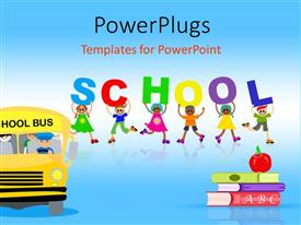 PowerPlugs: PowerPoint template with red apple on pile of books with school bus and happy kids