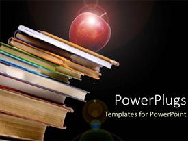 PowerPoint template displaying red apple on pile of textbooks education black background