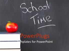 PowerPlugs: PowerPoint template with red apple with stack of books and school time text