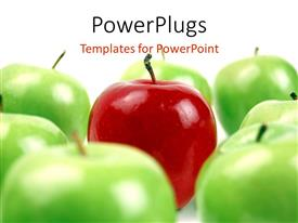 PowerPlugs: PowerPoint template with red apple surrounded by green apples on white background