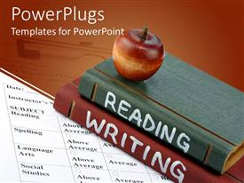 PowerPoint template displaying red apple on top of two books reading and writing on report card