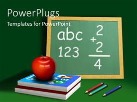 PowerPoint template displaying a red apple on two books and a board with pencils