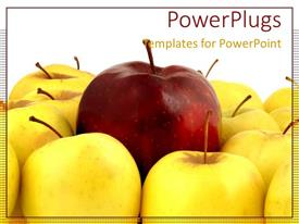 PowerPoint template displaying red apple with yellow apples standing out metaphor unique special leadership