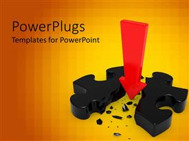 PowerPlugs: PowerPoint template with red arrow cleaving three dimensional puzzle piece in two