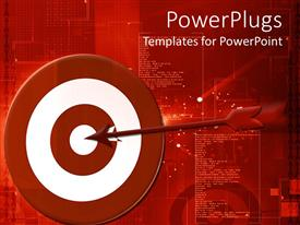 PowerPlugs: PowerPoint template with red arrow hitting the middle of a rd and white dart board