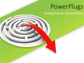 PowerPlugs: PowerPoint template with a red arrow from the middle of a maze
