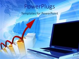 PowerPlugs: PowerPoint template with red arrow moving on a bar chart toward a laptop