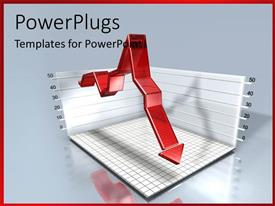 PowerPlugs: PowerPoint template with red arrow over 3D financial chart with grid lines