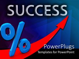 PowerPlugs: PowerPoint template with a  red arrow, a percentage sign and a text that spells out the word ' success '