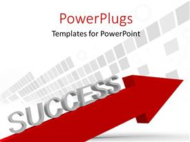 PowerPlugs: PowerPoint template with a red arrow with a text that spells out the word 'Success '