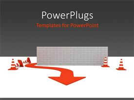PowerPlugs: PowerPoint template with red arrow workaround wall to overcome obstacles with grey color
