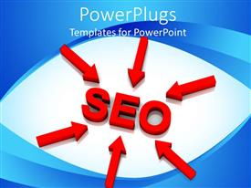 PowerPlugs: PowerPoint template with red arrows pointing toward SEO, search engine optimization