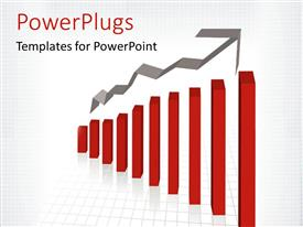 PowerPlugs: PowerPoint template with a red ascending bar chart on a white colored background