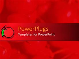 PowerPlugs: PowerPoint template with red background with overlay red bar and 2D depiction of tomato