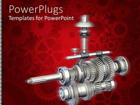 PowerPlugs: PowerPoint template with red background with several shaded gears, a big manual gearbox at the front