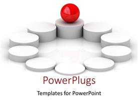 PowerPlugs: PowerPoint template with red ball balancing on ground circles columns metaphor center balance business