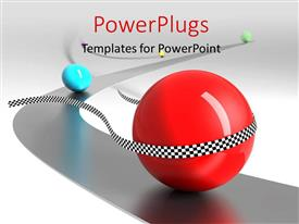 PowerPoint template displaying a red ball finishing the race