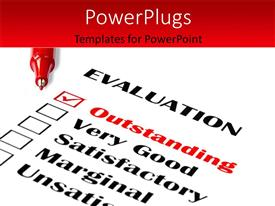 PowerPlugs: PowerPoint template with red ball point pens over evaluation card with outstanding ticked