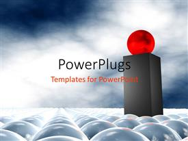 PowerPoint template displaying a red ball on top of a lot of white balls