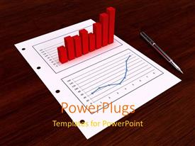 PowerPoint template displaying red bar chart and line chart on paper with ball pen on desk