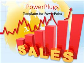 PowerPlugs: PowerPoint template with a red bar chart with a text that spell out the word 'Sales '