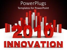 PowerPlugs: PowerPoint template with red and while bar charts with text 'innovation' on white and wine