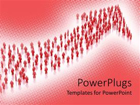 PowerPoint template displaying red bended arrow formed by figures on white and pink background